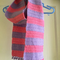 Crochet Lilac and Pink Bobble Edged Scarf
