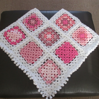 Crochet Pink and White Granny Square Poncho