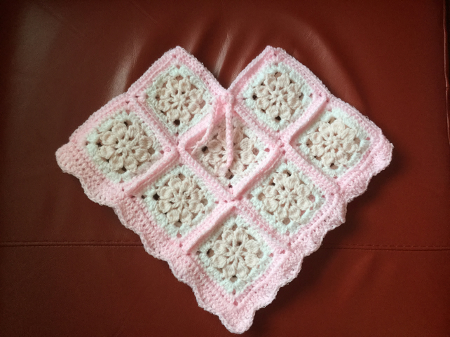 Crochet Pink And White Poncho For Toddler Folksy