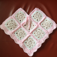 Crochet Pink and White Poncho for Toddler