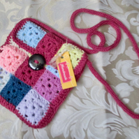 Granny Square Crocheted Bag with Long Handle