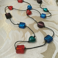 SALE  Long Glass Beaded Necklace