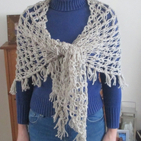 SALE  Solomon's Knot Crocheted Shawl