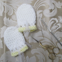 Lemon and White Crocheted Baby Mittens