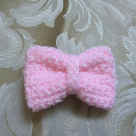 Pink Crocheted Bow Hair Clip