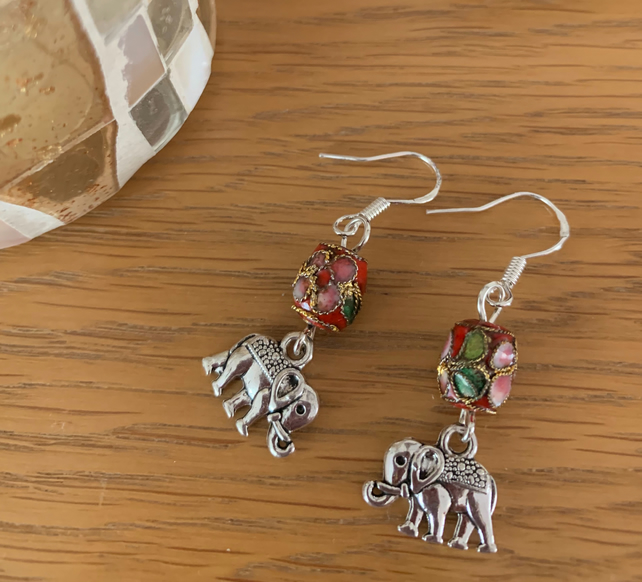 Cloisonné Bead Dangly Earring with Elephant