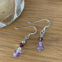 Amethyst and Silver Dangly Earrings