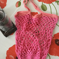 Crochet Market Tote Bag in Pink