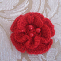 Red Crocheted Flower Brooch with Beads