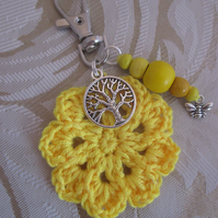 Crochet Bag Charm with tree of life and bee