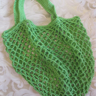 Green Crocheted Market Tote Bag