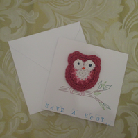 Crochet Owl Brooch Blank Card