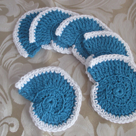 Six Crocheted Ammonite Coasters