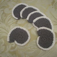 Set of Six Crocheted Ammonite Coasters