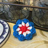 Red, White and Blue Crocheted Flower Brooch