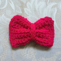 Bright Pink Crocheted Hair Clip