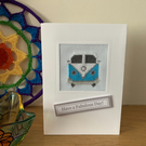 Cross stitched Camper Van Card