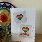 Cross Stitched Rainbow Heart Card