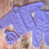 Baby infant girl toddler hand knitted mauve pram outfit of jacket trousers hat