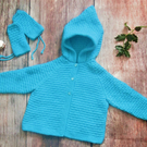 Baby girls boys hand knitted blue coat jacket hoody with pixie hood and mittens