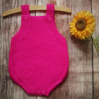 hot pink babys hand knitted bright fuchsia pink romper, infant all in one outfit
