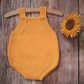 Babys hand knitted bright yellow mustard infants romper all in one outfit