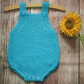 Bright blue babys hand knitted turquoise aqua infants romper all in one outfit