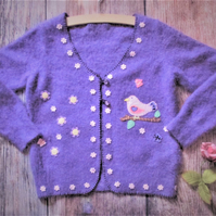 little girls felted jacket, purple lavender cardigan with bird and flower design