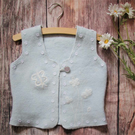 pale blue felted little girls jacket, sleeveless vest, cardigan with flowers
