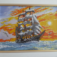 Handmade Embroidered Beaded Picture of Ship in sea sunset