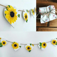 Wooden Sunflower Bunting