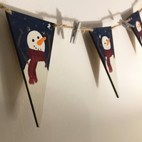 Handmade Wooden Snowman Bunting. Snowmen. Christmas Decoration