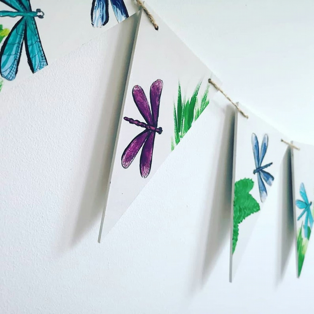Dragonfly Themed Wooden Bunting
