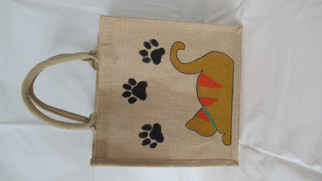 MARMALADE CAT JUTE TOTE BAG