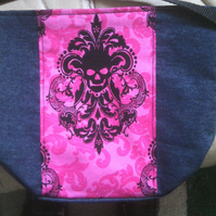 denim shoulder bag with gothic damask panel