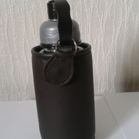 brown eco leather water bottle holder with bottle