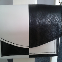 two tone black and white leather shoulder bag     on sale