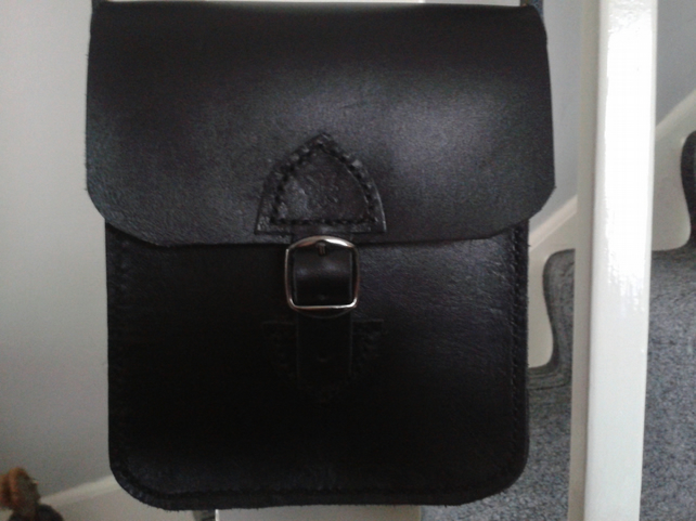 handmade real leather small shoulder bag