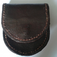 recycled brown leather change purse,