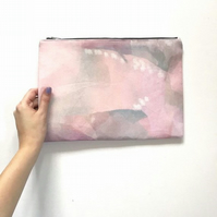 Pink Watercolour Pouch, Pink Clutch bag, Bridesmaids Gift
