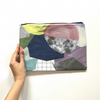 Geometric Print Bag, Clutch Bag with zip, Zipped Pouch, Cotton Clutch Bag