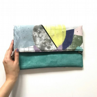 Turquoise Foldover Clutch Bag, Colourful Womens Purse, Bag for Night Out