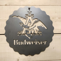 Budweiser Sign Wall Art Beer Man Cave Raw Stee Hand Finished pub bar larger
