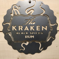 Kraken Rum Sign Wall Art Man Cave Raw Steel Hand Finished Beer Gin Whiskey