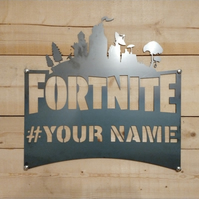 FORTNITE ANY NAME Custom Metal Sign xbox playstation, Hand Finished