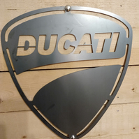 Ducati Metal Sign Motor bike garage workshop Raw Steel Wall Art Hand Finish