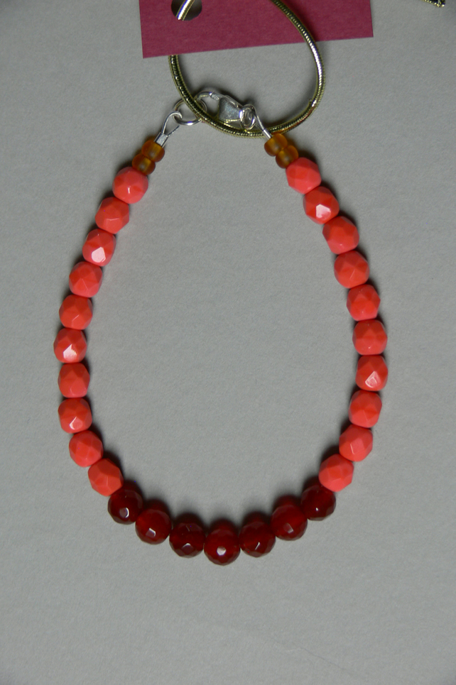 fire orange glass beads and red agate bracelet