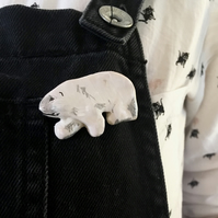Mini polar bear brooch