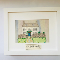 Personalised House Portrait: Custom Embroidered Picture