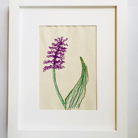 Purple Hyacinth Flower Embroidery Textile art
